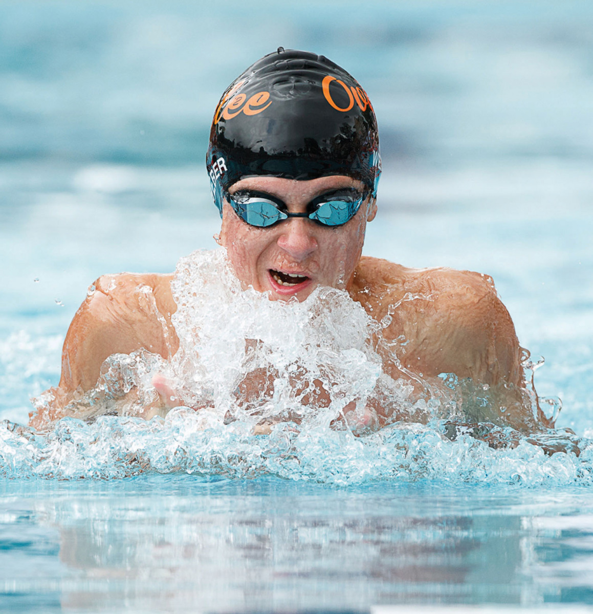 Overlee's Billy Weber swims in the boys age 13-14 breaststroke event. (Photo by Deb Kolt)